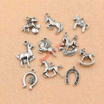 10pcs Mixed Tibetan Silver Plated Animals Horse Deer Dog Charms Pendants Jewelry Making DIY Craft Charm Handmade Crafts m026