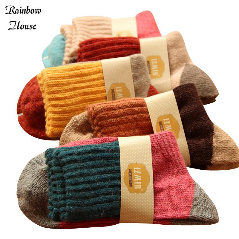 New 2017 Mixed Colors Women Fashion Socks Rabbit Wool Casual Knit Girl's Socks Warm Winter Womens Socks 4pcs=2pairs/lot(China (Mainland))