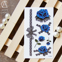 3D Waterproof Temporary Tattoo sticker Rose Sexy lace butterfly  tattoo Water Transfer fake tattoo flash tattoo for girl(China (Mainland))