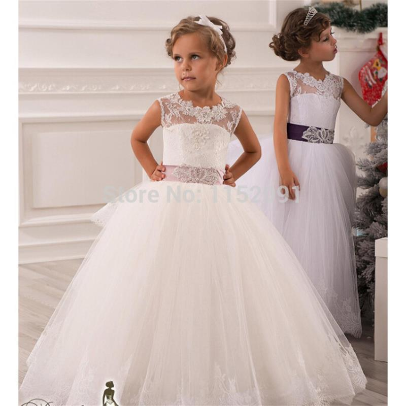 Lace flower girls dresses 2016 for weddings ball gown belt for Floor length gowns