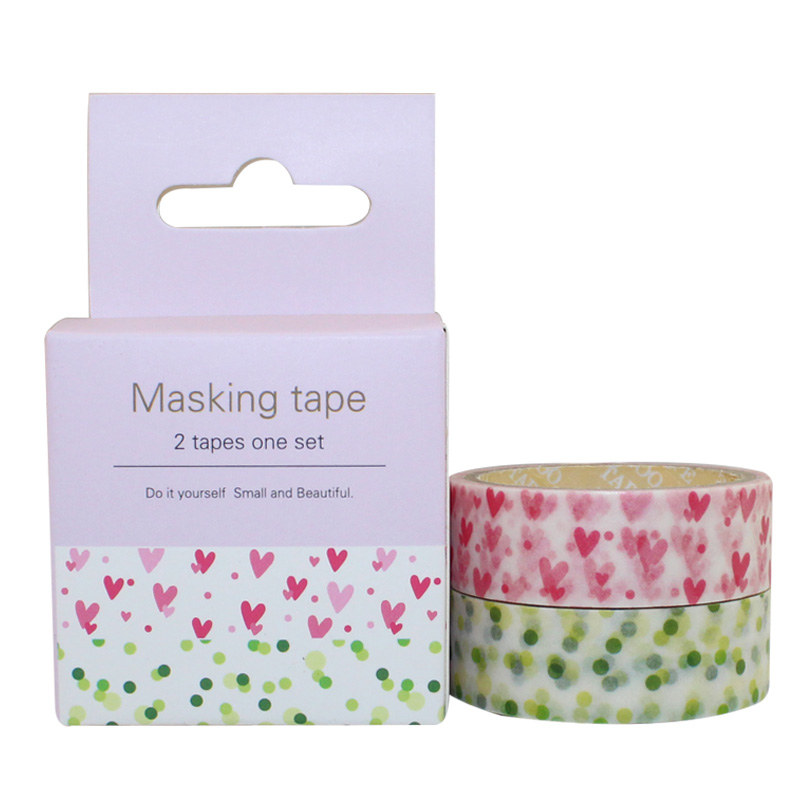 2PCS One Box Different Colors 15mm X5m Washi Paper Tape Masking Paper Sticker(China (Mainland))