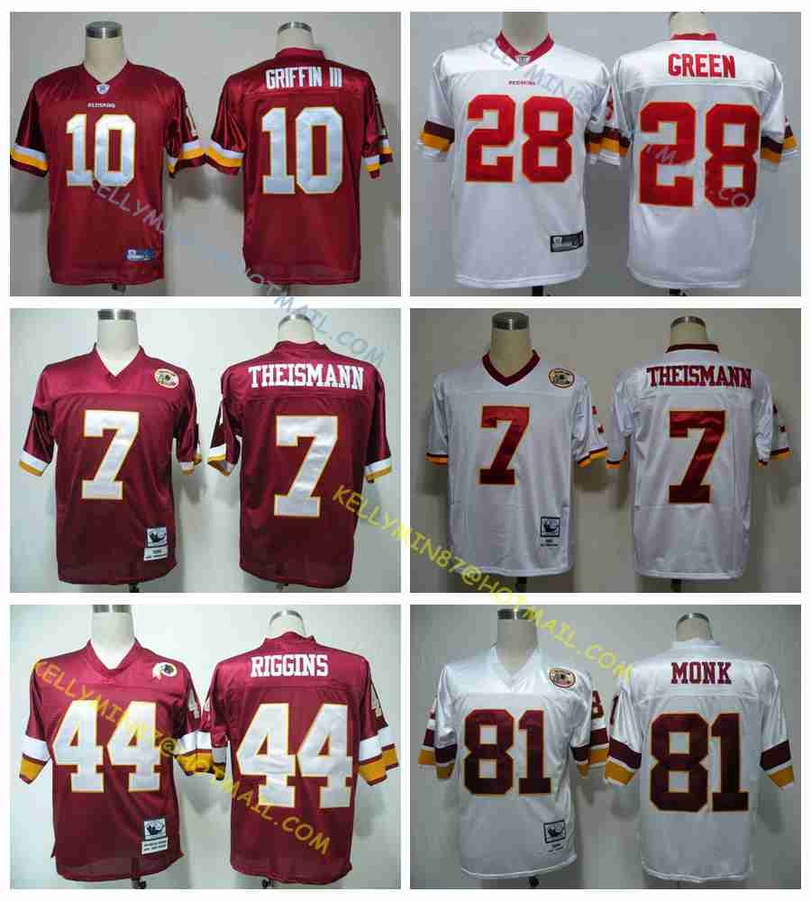 100% Stitiched,Washington Redskins,Robert Griffins III,Art Monk,John Riggins,Darrell Green,JOE THEISMANN,Throwback for men(China (Mainland))
