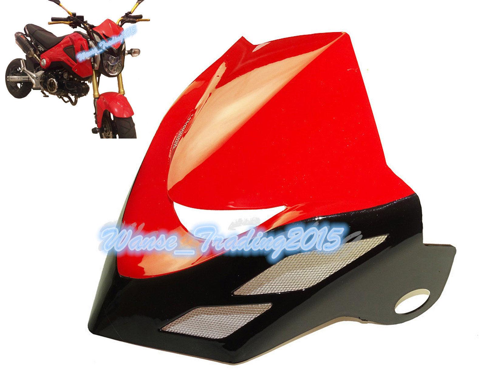 Front Upper Cowl Headlight Headlamp Head Light Lamp Cover Wind Shield Screen Red 2013 2014 2015 HONDA Grom MSX 125 MSX125 - Fast_Furious2015 store