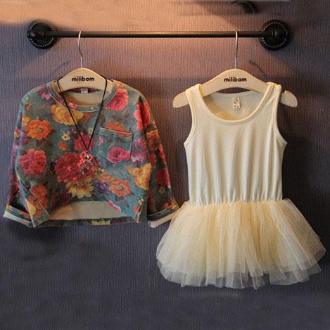 (5sets/lot) 2016 autumn Vintage flowers sweatshirt + dress clothes set child girl - guangdong humen costume Factory store