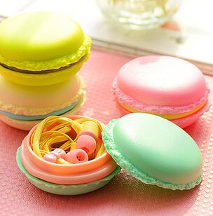 Новинка сладкие Macaron в-ухо наушники с Macaron ящик для хранения держатель для наушников