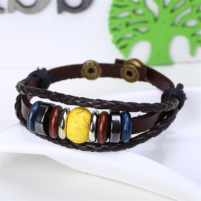 Lady Jewelry Yellow bead Real Leather Bracelets Bangles Woven Bracelet Women adjustable size 2015 - Alice jewelry world store