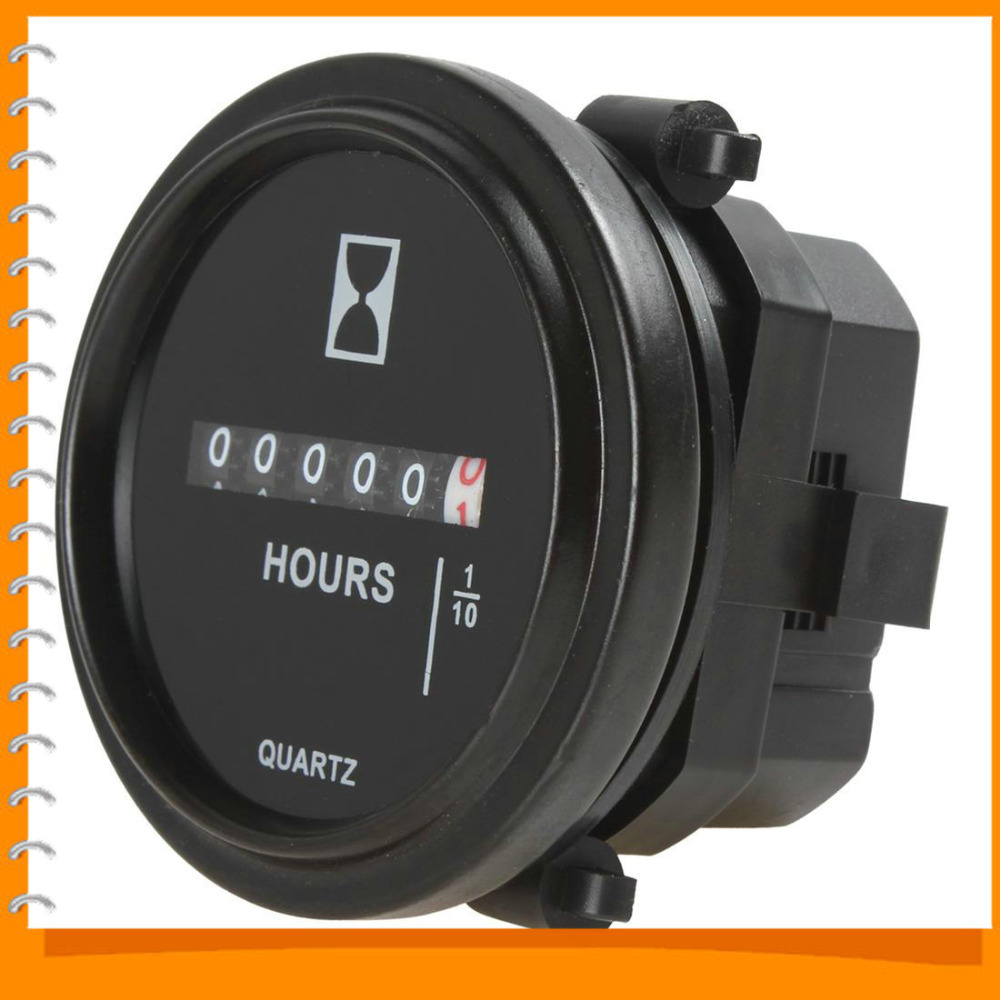 2 Inch DC 8-80V Round Hour Meter Industrial Digital Electronic Mechanical Timer for Race Cars / Fork Lifts / Trucks / Boats(China (Mainland))
