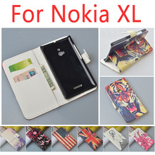 Patterned Wallet Flip Case Cover for Nokia XL Dual SIM RM-1030 / RM-1042 Phone Bag with Stand Function and Bank Card Holder