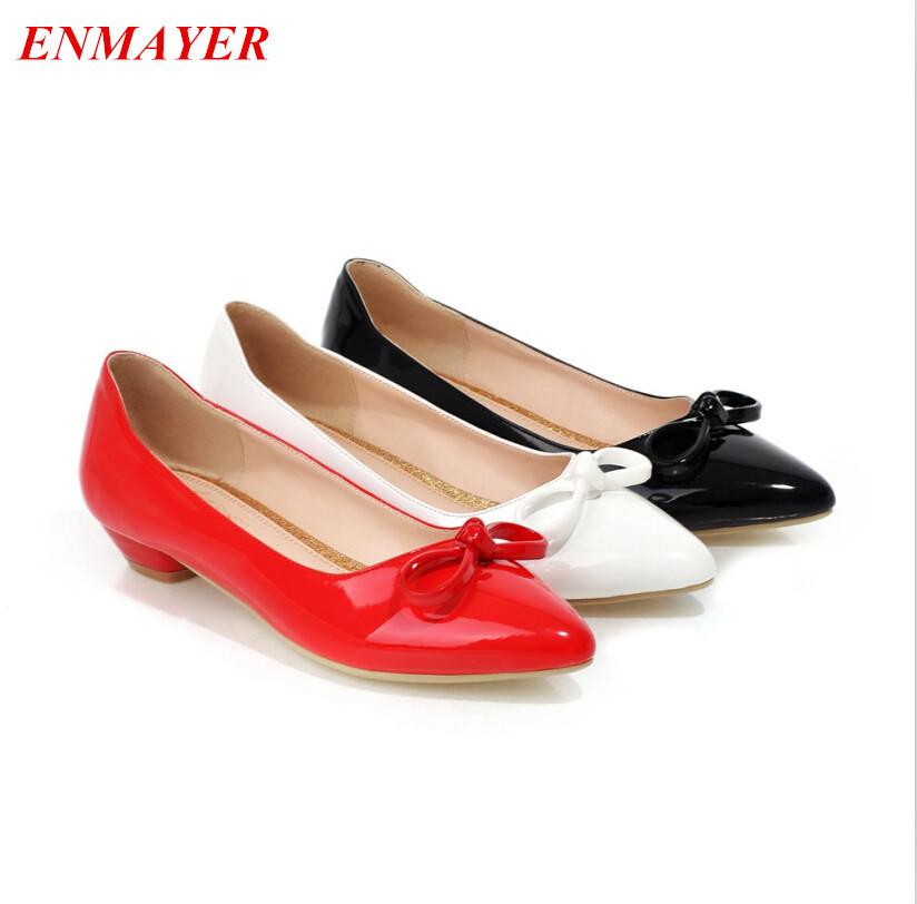 ENMAYERwomen pumpsClosed Toe Pointed Toe Square heel Platform pumpsBowtie fashion shoes pumps    2015 new large size 34-43<br><br>Aliexpress