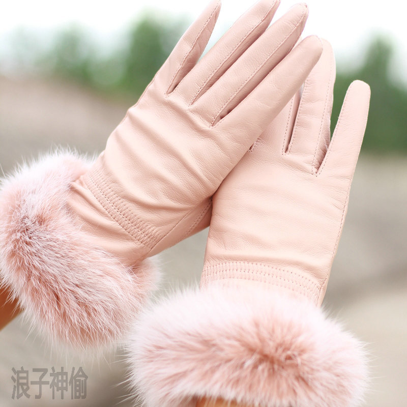 Autumn winter women's genuine leather rabbit fur gloves 2012 fashion sheepskin - ELLEN FASHION ACCESSORIES store