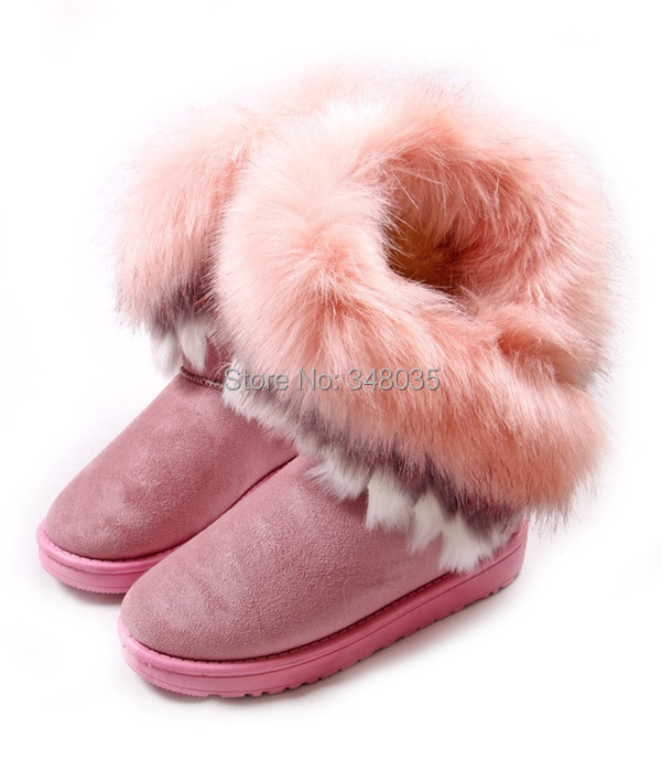 Фотография 2015 HOT Style artificial fox rabbit Design fur inside women Winter shoes 4 colors choices free shipping  snow boots