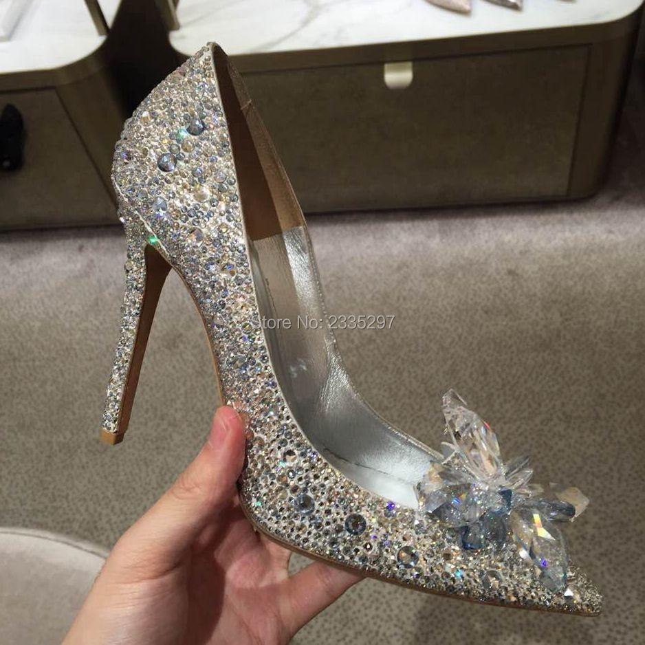 2016 New Rhinestone High Heels Cinderella Shoes Women Pumps Pointed toe Woman Crystal Wedding Shoes 8cm High Heel Slim Pumps(China (Mainland))
