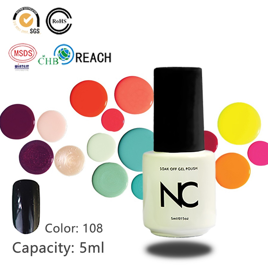 1Piece Free Shipping Gel Bright Black UV Soak Off Nail Gel Polish Long Lasting Led Gel Varnish DIY Nail Art 5ml Gel Polish(China (Mainland))