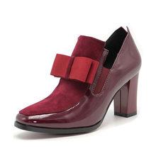 FITWEE size 33-43 Vrouwen Hoge Hakken Laarzen Lederen Strik Dropshipping Enkellaars Lente Herfst Schoenen Vrouwen Laarzen(China)