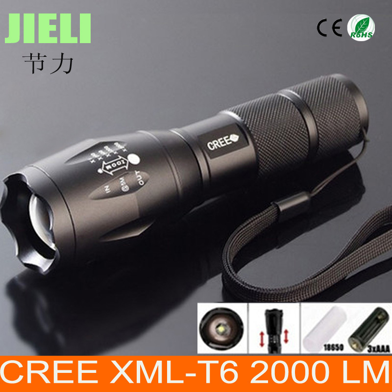 Free Shipping Big Discount Ultra Bright XM-L T6 LED Flashlight 5 Modes 2000 Lumens Zoomable LED Flashlight(China (Mainland))