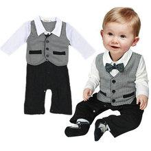 Gentleman Formal Baby Boy Suit Romper  Pants One piece Jumpsuit Clothes set 0-18M  (China (Mainland))