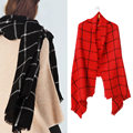 2016 New Fashion Women Winter Casual Soft Plaid Long Wrap Shawl Tartan Knit Wool Scarf Female
