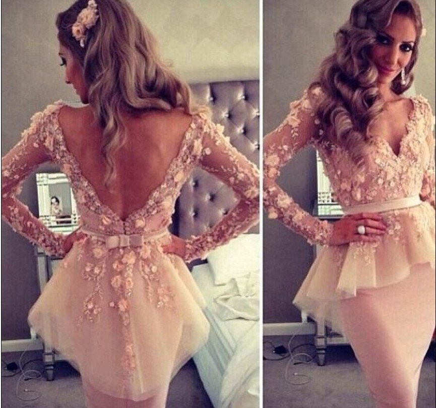 Real Picture Myriam Fares Celebrity Dress Deep V neck Long Sleeves Cocktail Floor Length Pink Peplum Evening Custom  -  Weddings & Events Collection store