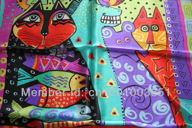 Free Shipping! 100% pure silk  Scarf , 90cm*90cm square scarves,cat and fish ,two colours
