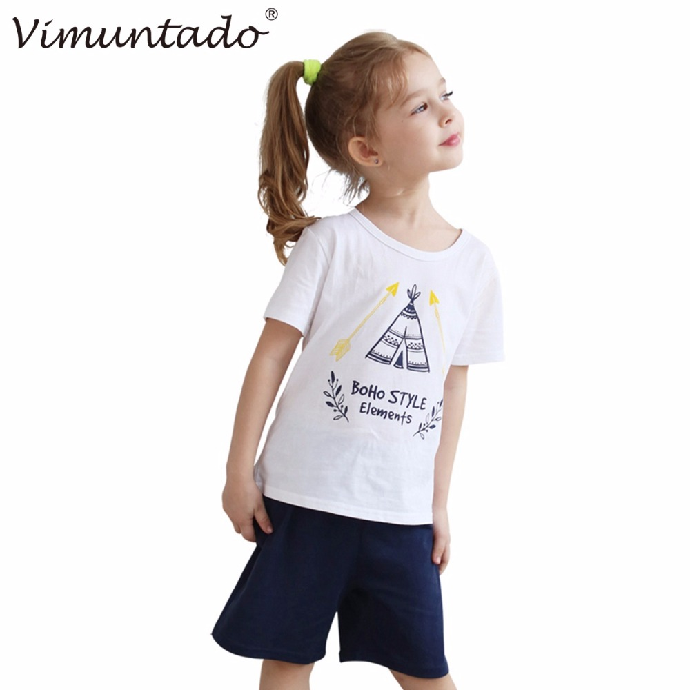 Vimuntado Kids Clothes Summer Suit Brand Girls Clothing Sets Cotton Sport Suit for Girl (Tshirt +Shorts) 2016 Baby Toddler(China (Mainland))