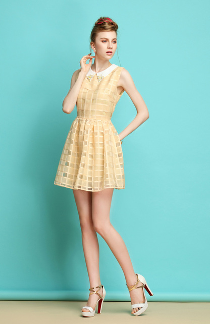 Free shipping 2013 new delicate gorgeous ladies sweet temperament fresh plaid high waist sleeveless dress