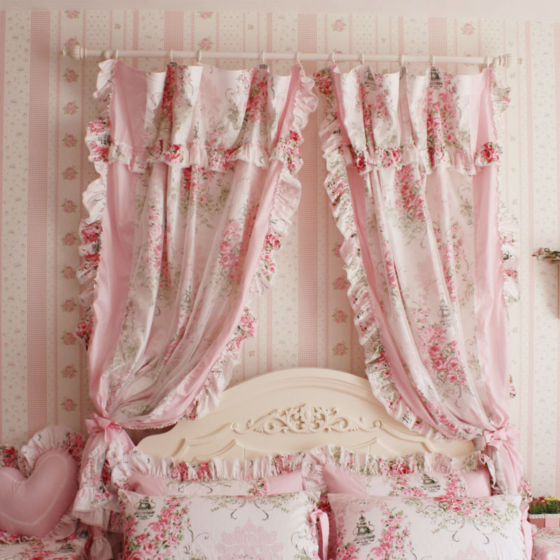 korean style princess pink rose ruffle curtain window