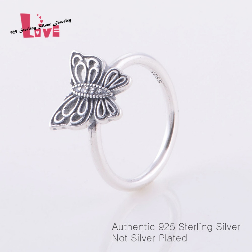 Authentic 925 Sterling Silver Butterfly Ring Charm DIY Jewelry Findings for Women Compatible with Brand EU Jewelry(China (Mainland))