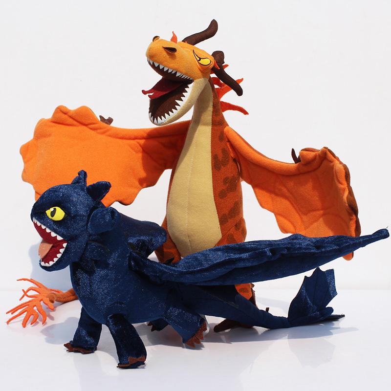Free Shipping 2X How to Train Your Dragon Toothless Night Fury Firedragon nightmare Plush Toy Stuffed Teddy Dolls(China (Mainland))