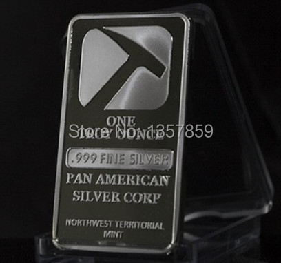 50pcs/lot Free shipping.The Pan American coin 1OZ .999 fine Pure silver plated souvenir bar coin.(China (Mainland))