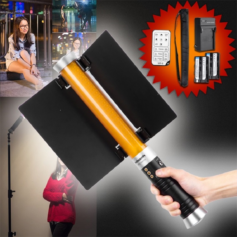 Pergear Handheld 160 Led Video Light CRI 85+ Dimmable 3200K-5600K Magic ICE Tube Wand Light Photography+Barn Door+2pcs Batteries(China (Mainland))