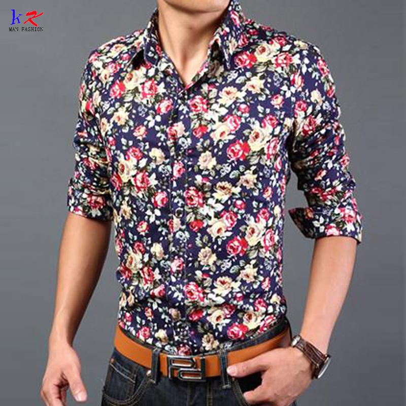 luxury new men 2015 fashion flower shirts mens designer 5xl clothes