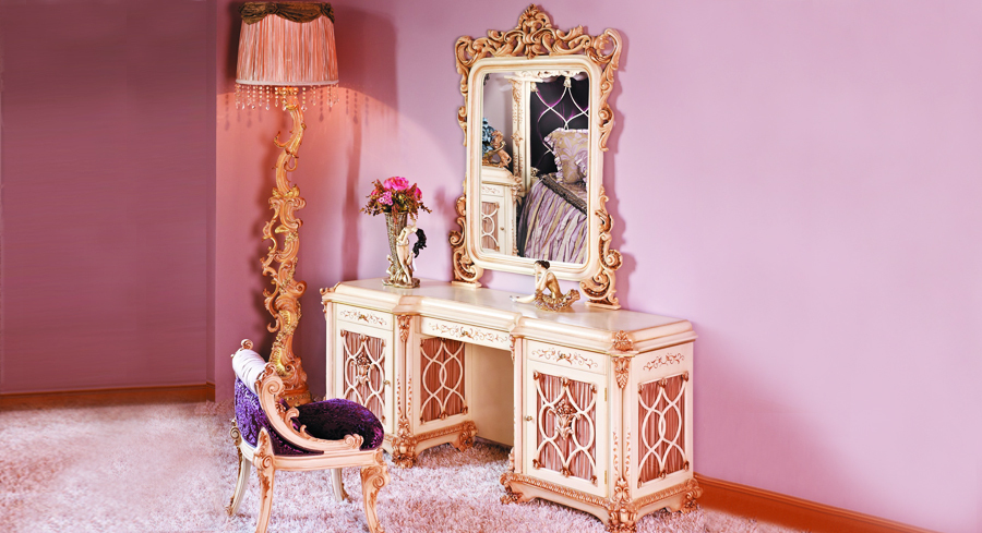 Luxury European Style Woodcarving Dressing Table Dressing