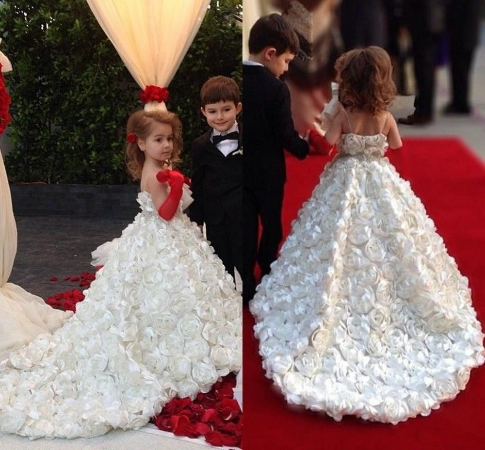 2015 new flower girl dresses with flower sash pageant for Little flower girl wedding dresses