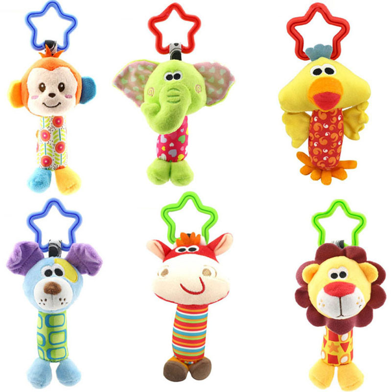 Crib Tinkle Hand Bell Hanging Baby Rattle Pram Toys Stroller Infant Baby Toys 0-12 Months Monkeys Lions Elephants Deer Dog Chick(China (Mainland))