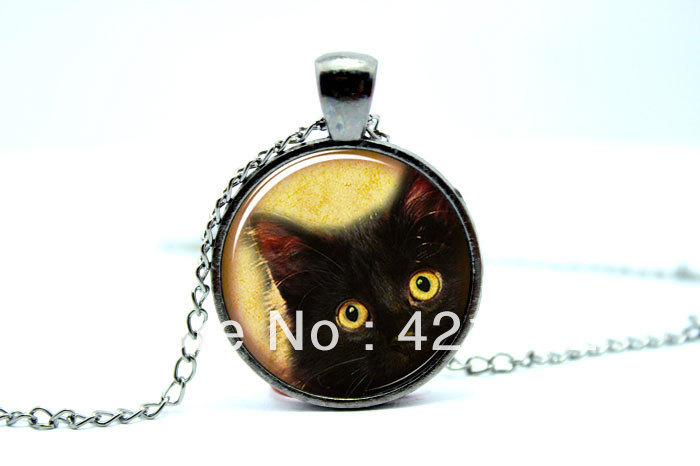 10pcs/lot Cat Necklace, Cute Halloween Jewelry, Black Kitty Pendant Glass Cabochon Necklace vision 2(China (Mainland))