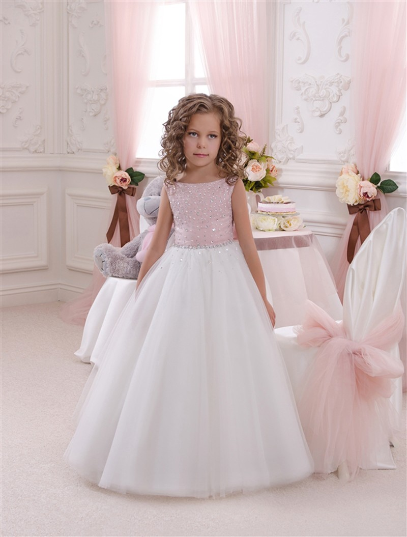 Flower girl dress pink white tutu dress babytutu for Flower girls wedding dress