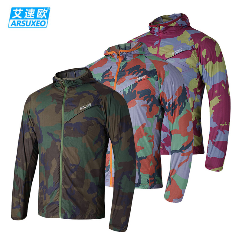 ARSUXEO Camouflage Ultralight Outdoor Sport Jacket Windproof Hiking Running Workout Skin Dust Coat Camping Bike Cycling Clothing - Top-touch Technology Co.,Ltd store