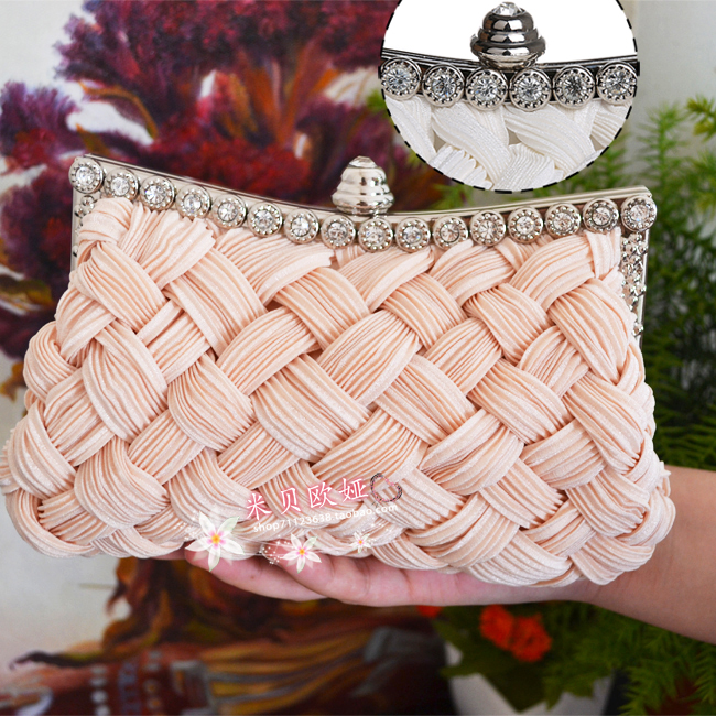 2015 Special Offer Women Leather Handbags Evening Bag Day Clutch Rhinestone Diamond Knitted Women's Banquet Bride Bridesmaid(China (Mainland))