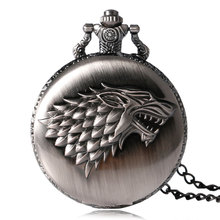 2016 Antique Game of Thrones Strak Family Crest Winter is Coming Design Pocket Watch Unique Gifts Unisex Fob Clock(China (Mainland))