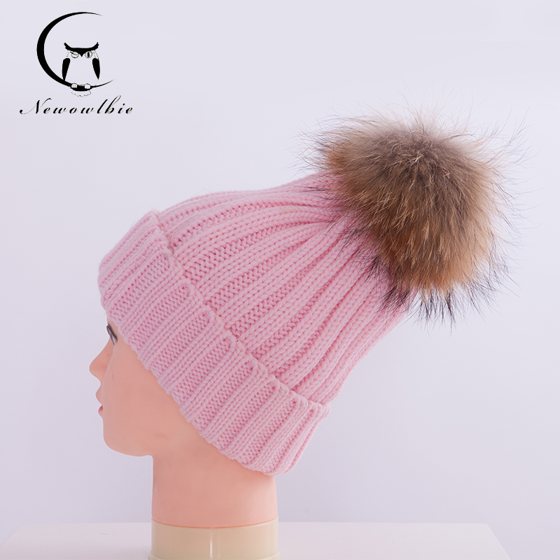 women100% Real Raccoon Fur Hats Knitted Wool With Gunuine Fur Pompom Beanies Hat Cap For Children(China (Mainland))