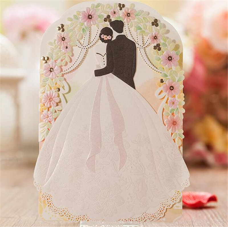 Luxury Wedding Inviting Card Laser Cut Christmas Paper Event Party Supplies Accessories Decoration Romantic Flower Invitation(China (Mainland))