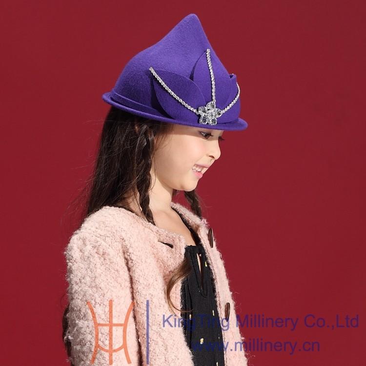 Скидки на Зима девушка шляпы изысканный бисером 100% шерсть шляпы аксессуары для волос милые детские чувствовал шапки и шляпы для торжества