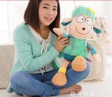 middle lovely plush sheep toy creative colorful sheep gift stuffed dolly sheep with hat doll gift about 64cm green