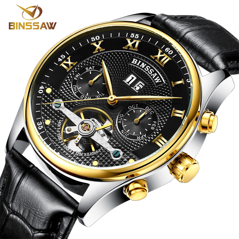 Fashion Luxury Brand BINSSAW leather Tourbillon Watch Automatic Men Wristwatch Men Mechanical steel Watches relogio masculino(China (Mainland))