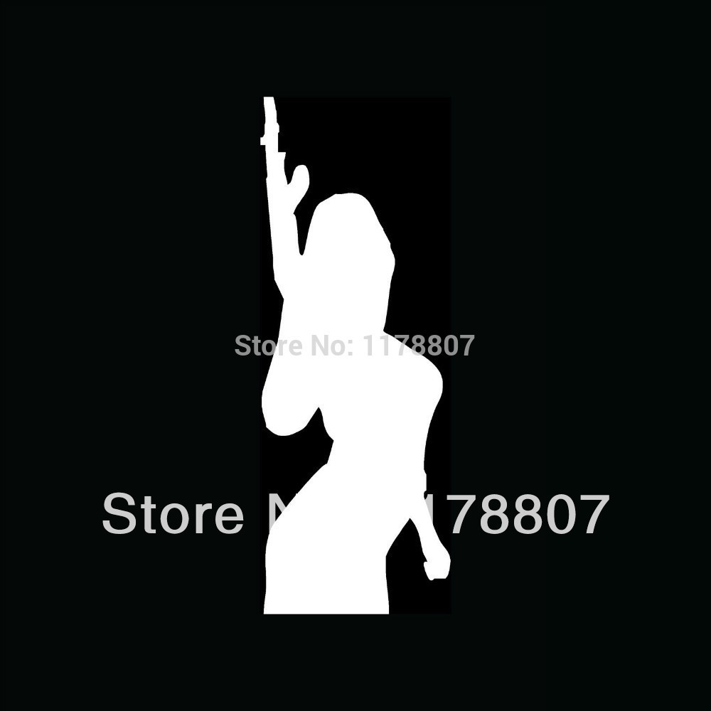 50 pcs/lot SEXY GIRL WITH GUN Sticker Vinyl for Car Window Truck Bumper Auto Door Decal Machine Chick Arms Shoot Rifle Protect(China (Mainland))