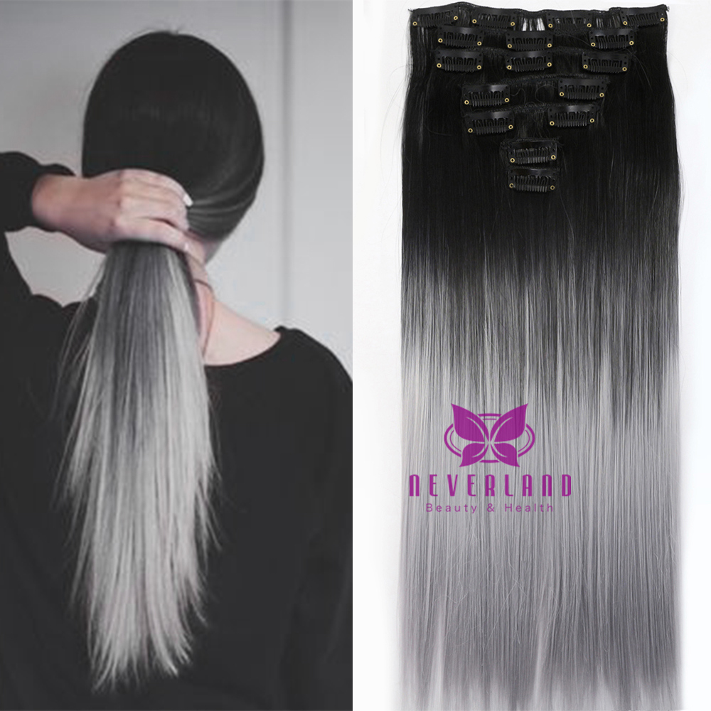 Fashion 7pcs 24 60cm Straight Clip In Hair Extension 1b Ombre Hair Long Style 16clips