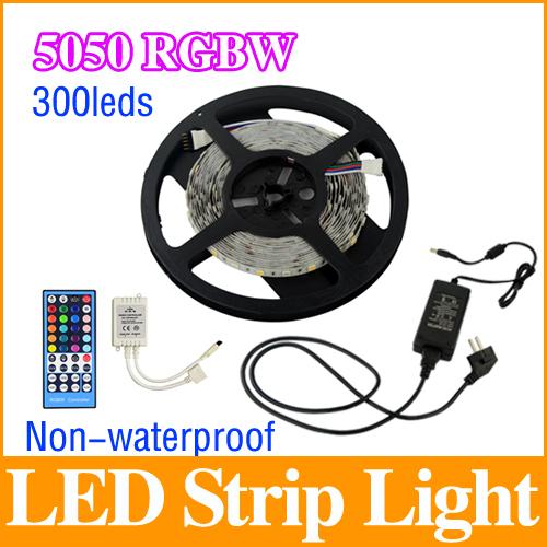 5050 LED Strip Light RGBW/RGBWW DC12V 5M/roll 60Leds/M Flexible Bar Light +40 Keys RF Dimmer Remote+5A 60W Power Adapter LS08(China (Mainland))