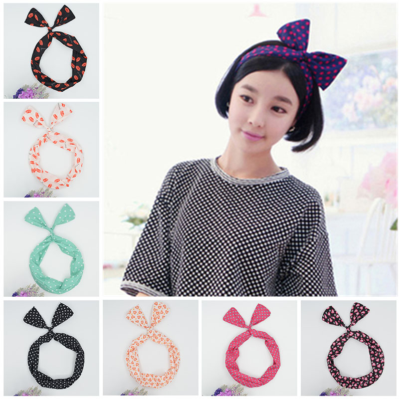 Lovely women Girl Lady Bow dot lips Headdress Hair Bands Hoop Rabbit Ear Wrapped yoga Headband Party Wire Scarf Hair Accessories(China (Mainland))