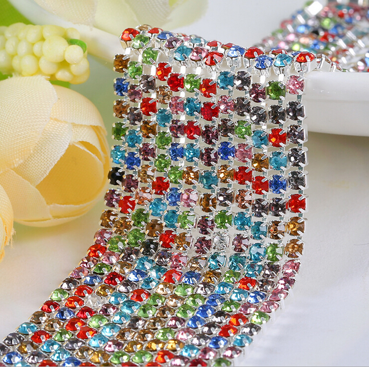 SS6 2mm colorized rhinestone + clear ab mix Crystal glass Rhinestone chain Compact Silver chain for phone, cups, mouse(China (Mainland))