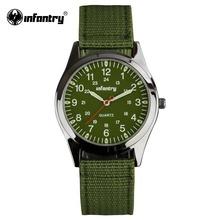 INFANTRY Watch Mens Quartz Wristwatches Luminous Military Green Fabric Watchband Sports Watches for Men Relogio Masculino(Hong Kong)